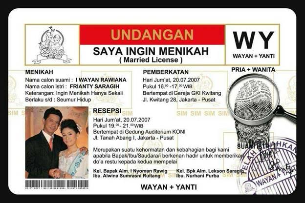 Desain Kartu Undangan Pernikahan Model SIM